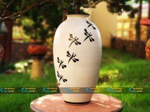 Bình hoa Bát Tràng dáng bầu vẽ chuồn đen