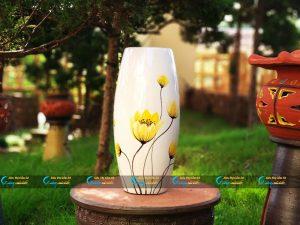 Bình hoa Bát Tràng dáng bầu vẽ hoa vàng