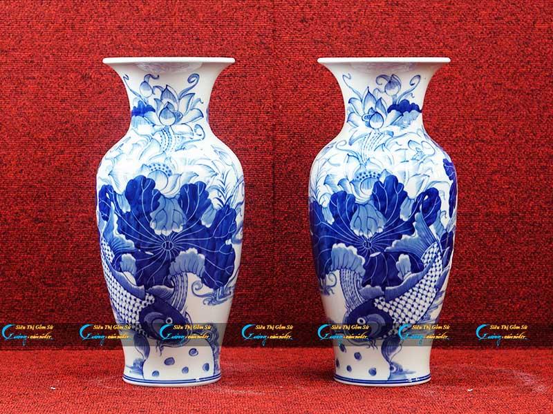 Bình hoa vẽ Cá Sen men xanh như ý
