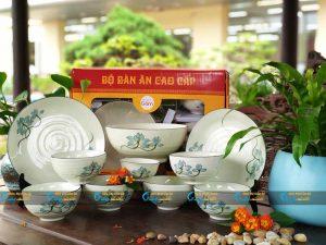 Bộ 10 sản phẩm bát đĩa men kem sen xanh