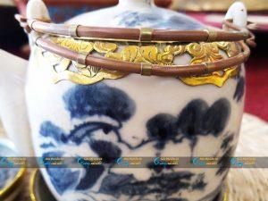 Bộ ấm chén sơn thủy bọc đồng dáng tròn