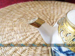 Bộ ấm sơn thủy dáng tròn bọc đồng men rạn cổ