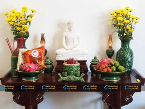 Bộ bàn thờ Phật men Ngọc lục bảo