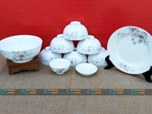Bộ bát đĩa 10 sản phẩm hoa ghi Minh Châu