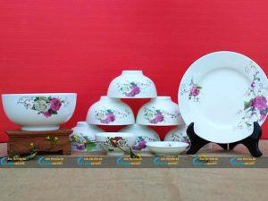 Bộ bát đĩa 10 sản phẩm hoa hồng đậm Minh Châu