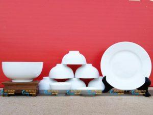Bộ bát đĩa 10 sản phẩm sứ trắng Minh Châu