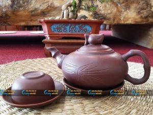 Bộ trà hồng sa Bát Tràng dáng quả đào