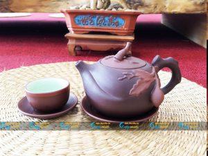 Bộ trà hồng sa trúc đào đắp nổi