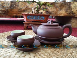 Bộ trà hồng sa Bát Tràng quai tròn
