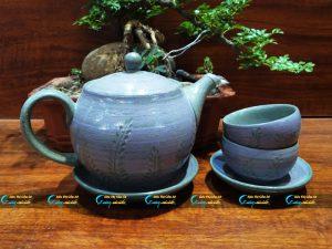 Bộ trà hồng sa cỏ tím Bát Tràng