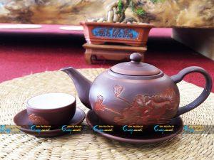 Bộ trà hồng sa khắc hoa sen