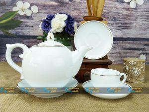 Bộ trà trắng Bát Tràng bưởi lửa kẻ vàng