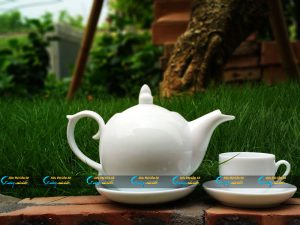 Bộ trà trắng Bát Tràng nắp lửa