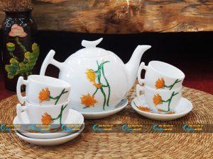 Bộ trà trắng bưởi cành vẽ hoa quỳnh