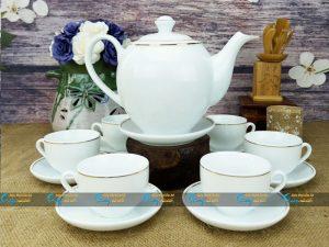 Bộ trà trắng dáng Minh Long kẻ vàng kim