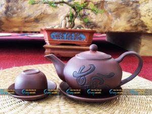 Bộ trà tử sa Bát Tràng chữ « Thiền »