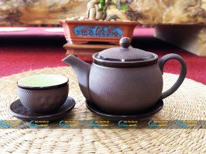 Bộ trà tử sa Bát Tràng kẻ viền nâu