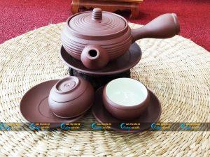 Bộ trà tử sa dáng Nhật gốm mộc Bát Tràng