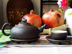 Bộ trà tử sa dáng quả đào Bát Tràng