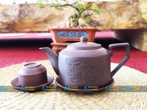 Bộ trà tử sa khắc chữ « Tuệ »