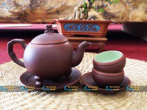 Bộ trà tử sa dáng tròn chân cao Bát Tràng