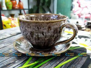 Ly cà phê Cappuccino men hỏa biến nâu