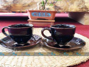 Ly cà phê Cappuccino men nâu hỏa biến quai tim