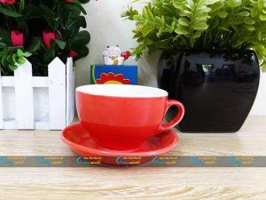 Ly cà phê Cappucino đỏ dáng bầu thấp