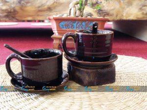 Ly cà phê dáng trụ men nâu hỏa biến
