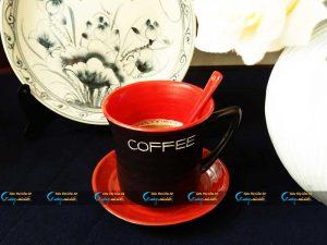 Ly cà phê Latte men mát đen lòng đỏ