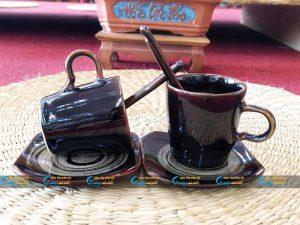 Ly sứ cà phê Espresso men nâu hỏa biến