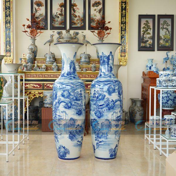 lộc bình men lam vẽ cảnh chùa Túy Vân