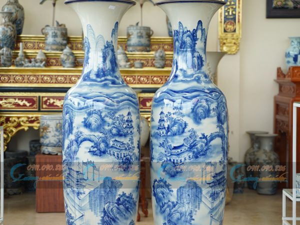 lộc bình men lam vẽ chùa Túy Vân - Huế